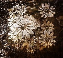 Daisies in Garden, Antique, Vintage Style, Sepia by PhotosByTrish