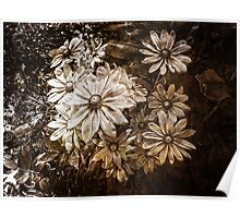 Daisies in Garden, Antique, Vintage Style, Sepia Poster