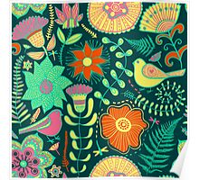 Colorful Retro Flowers And Birds Pattern Poster