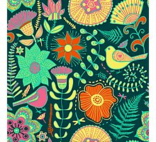 Colorful Retro Flowers And Birds Pattern Photographic Print