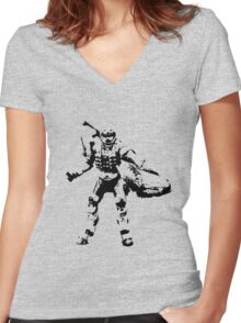 Crab Spartan - BiLevel Clear Women's Fitted V-Neck T-Shirt