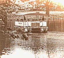 Ferry on the River, Kansas City Zoo, Monochrome by PhotosByTrish