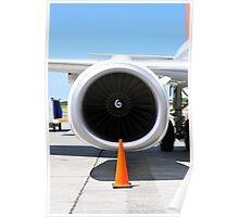 Air transportation: Jet engine detail. Poster