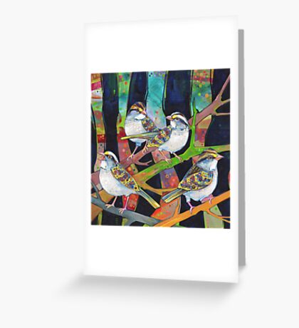 White-throated sparrows painting - 2012 Greeting Card