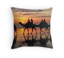 ''Camels at Sunset'' Throw Pillow