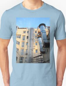 The back side of a multi-storey office building Unisex T-Shirt