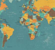 Retro Political Map of the World Sticker