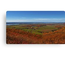 Fall Autumn Colors ~ Aerial View of Fields, Farmland & the Ottawa River ~ Country Landscape Canvas Print
