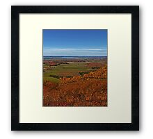 Fall Autumn Season ~ Brush & Orange Leaf Trees on a Hillside w/ Green Field, Meadow & Farmland Framed Print