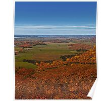 Fall Autumn Season ~ Brush & Orange Leaf Trees on a Hillside w/ Green Field, Meadow & Farmland Poster