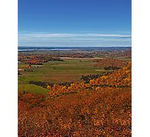 Fall Autumn Season ~ Brush & Orange Leaf Trees on a Hillside w/ Green Field, Meadow & Farmland Photographic Print