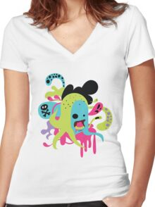 Zombie Nom Women's Fitted V-Neck T-Shirt