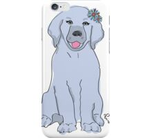 Periwinkle Labrador with Two Flowers iPhone Case/Skin