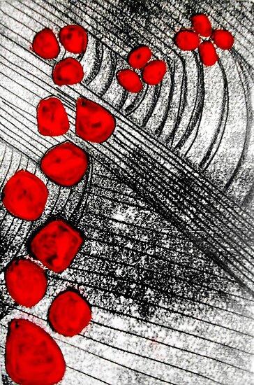 "Monotype with Red by Belinda ""BillyLee"" NYE (Printmaker)"