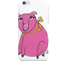 Pink Pig with Orange Ribbon iPhone Case/Skin