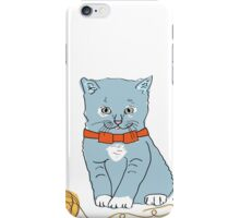 Blue Kitten with Orange Bow iPhone Case/Skin