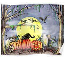 Happy Halloween Scene Poster