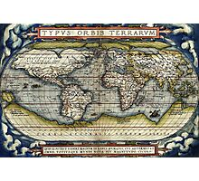 World map from the first modern atlas by Ortelius Photographic Print
