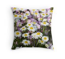 Shasta Daisies with Pink Musk Mallow Flowers Throw Pillow