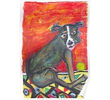 Black Dog_ Green Ball Poster