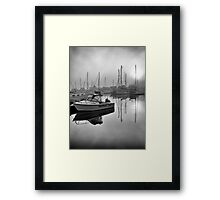 Misty Marina Morning Framed Print