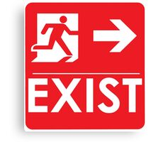 """EXIST"" Existential Signage - STICKER RED Canvas Print"