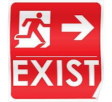 """""""EXIST"""" Existential Signage - STICKER RED Poster"""
