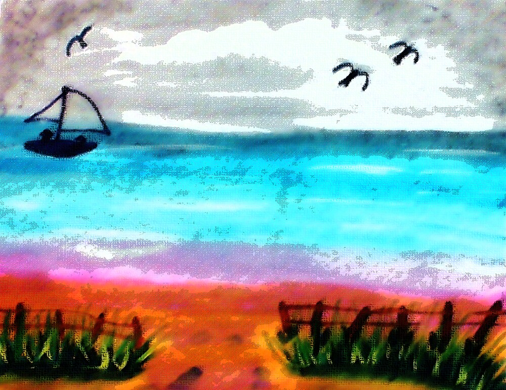 Seascape #2, finishd, watercolor by Anna  Lewis