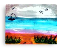 Seascape #2, finishd, watercolor Canvas Print