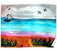 Seascape #2, finishd, watercolor Poster