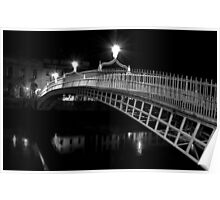 Ha'Penny Bridge At Night (mono) Poster