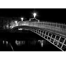 Ha'Penny Bridge At Night (mono) Photographic Print