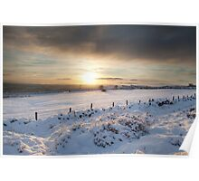 Winter sunset, Otley Chevin Poster