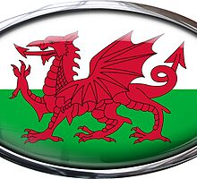 Wales Flag Glass Oval Die Cut Sticker by ukedward