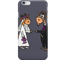 Funny Cool Goat Bride and Groom Wedding Art iPhone Case/Skin