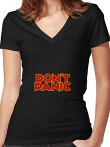 Dont Panic - The Hitchhiker's Guide to the Galaxy Women's Fitted V-Neck T-Shirt