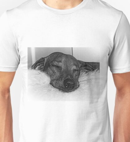 Closeup of Dachshund Sleeping Serenely, Black and White Unisex T-Shirt