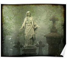 Fog Enveloped The Graveyard Poster