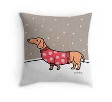 Christmas Dachshund in the Snow Throw Pillow