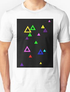 Colourful triangles on black T-Shirt