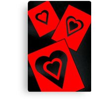 Hearts in Black and Red Variation 2 Acrylic Painting Canvas Print