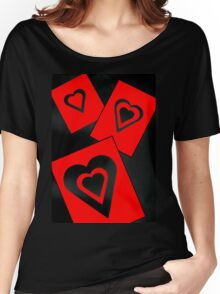 Hearts in Black and Red Variation 2 Acrylic Painting Women's Relaxed Fit T-Shirt