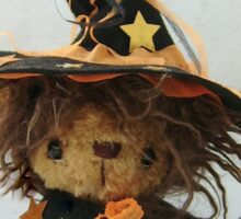 Happy Halloween from Eenie the Witchy Bear - Handmade bears from Teddy Bear Orphans Sticker
