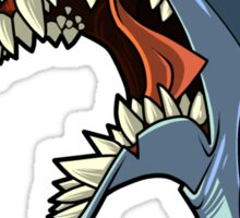 Angry blue shark with shading Sticker