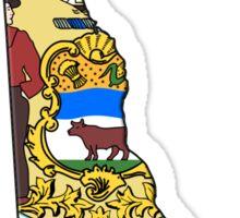 Delaware State Flag & Outline Sticker