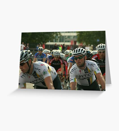Mark Cavendish within the peloton Greeting Card
