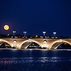 France. Bordeaux. Bridge over Garonne river at Night with Full Moon. by vadim19