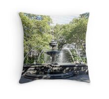 City Hall Water Fountain Throw Pillow