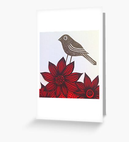 Red flower & bird Greeting Card