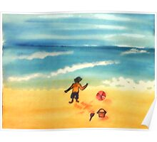A  day at the beach and dirty already, watercolor Poster